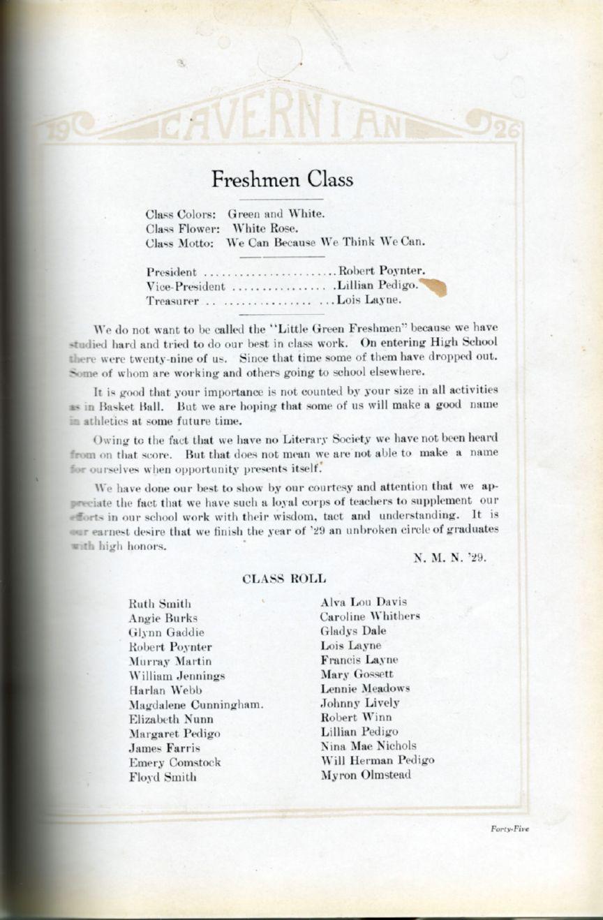 1926 Horse Cave High School Yearbook