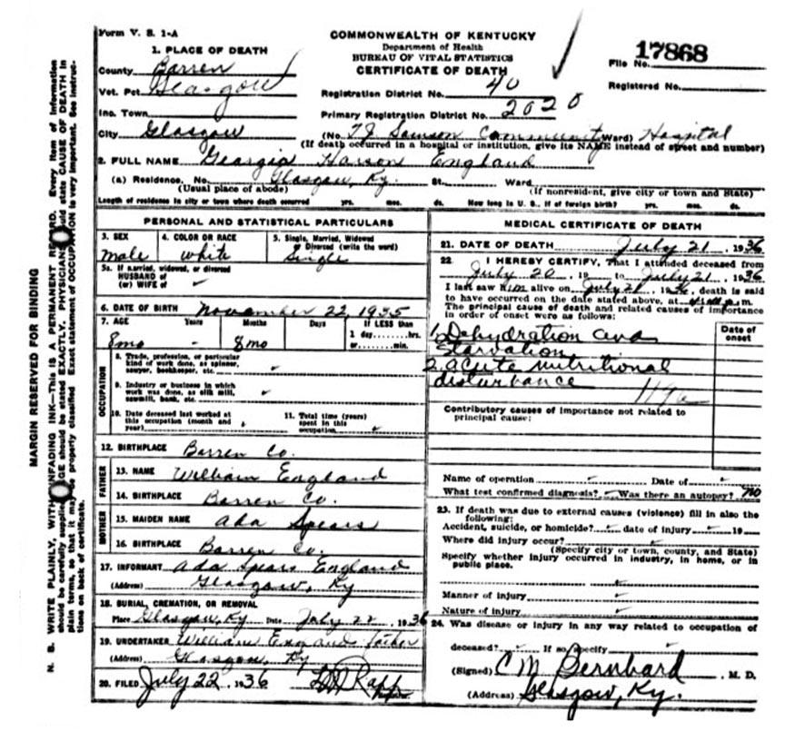 Georgia Harson England Death Certificate