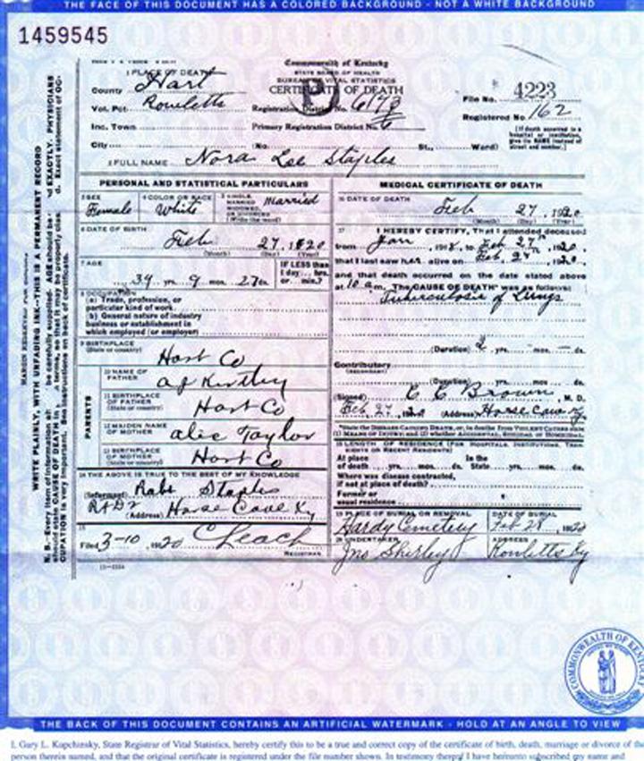 Nora Lee Kirtley Staples Death Certificate