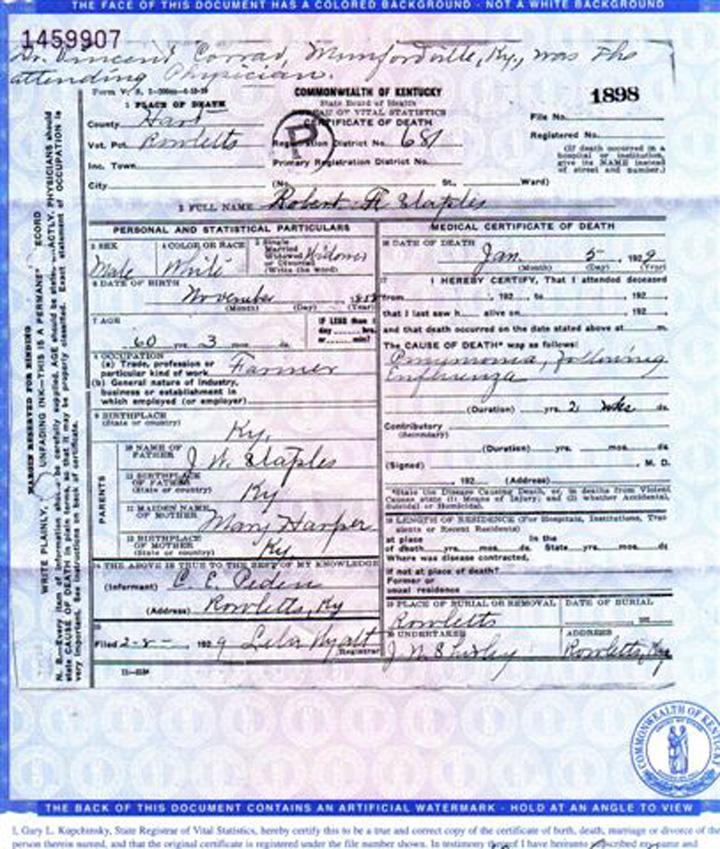 Robert F Staples Death Certificate